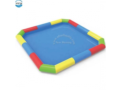 colorful high quality PVC large size kids inflatable lap swimming pool with slide