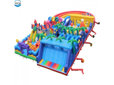 NBOB-1021 rainbow inflatable castle obstacle course