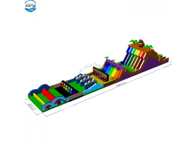 NBOB-1024 bear and hunter inflatable obstacle course