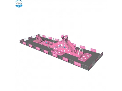 NBOB-1025 pink theme inflatable competitive obstacle course game