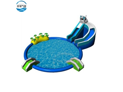 LW 55 Inflatable water slide with pool for park or rental
