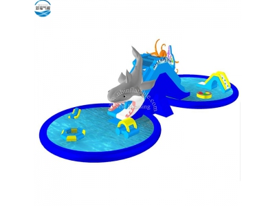 LW53 shark  inflatable water slide with swimming pool
